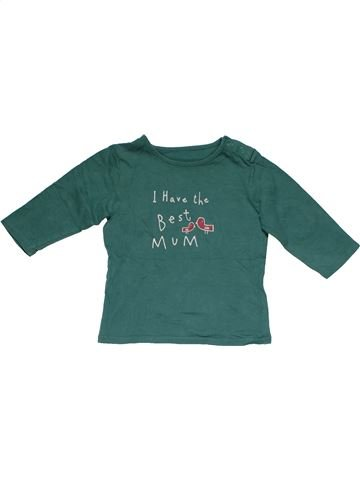 Long sleeve T-shirt girl MARKS & SPENCER green 9 months summer #25096_1