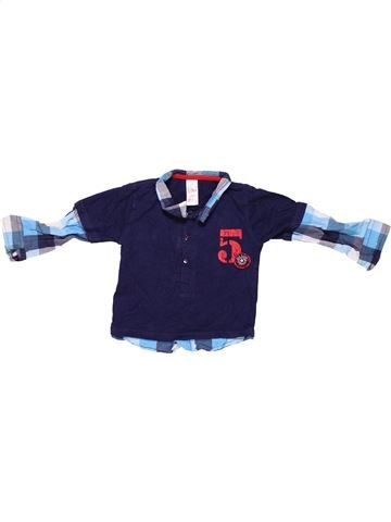Long sleeve polo shirt boy BABY blue 12 months winter #257_1