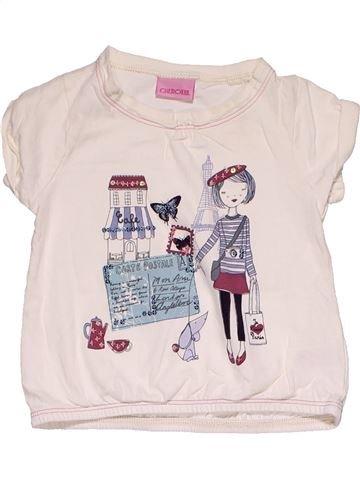 Short sleeve T-shirt girl CHEROKEE white 18 months summer #30281_1