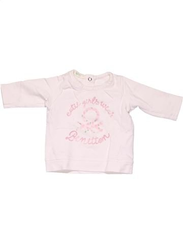 Long sleeve T-shirt girl BENETTON white 3 months winter #7722_1
